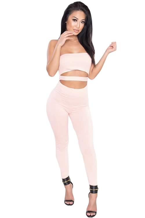 Skinny Strapless Cutout Capri Jumpsuit in Pink