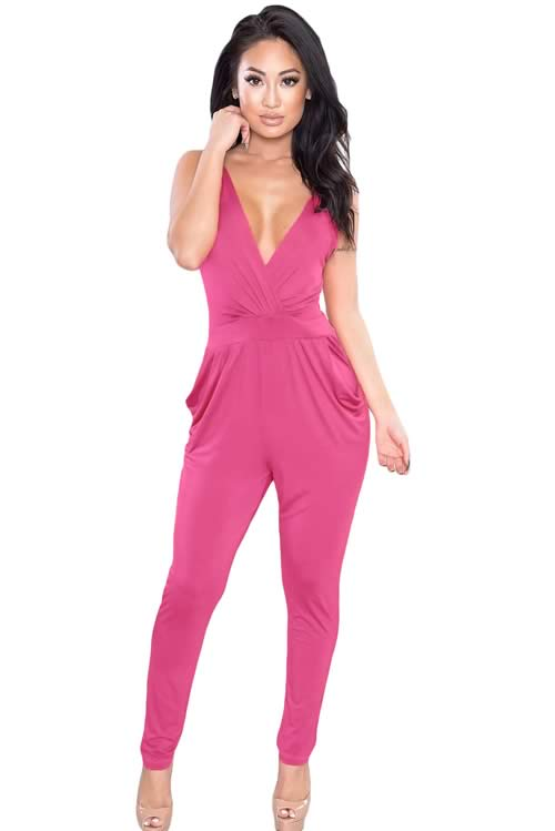 Plunging V Neck Backless Fitted Pant Jumpsuit in Pink