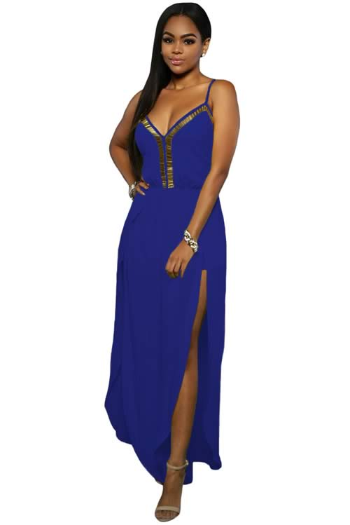 Slit Leg Gold Hardware Decor Crisscross Back Jumpsuit in Blue