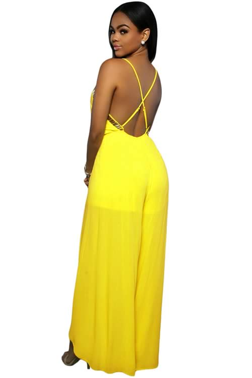 Slit Leg Gold Hardware Decor Crisscross Back Jumpsuit in Yellow