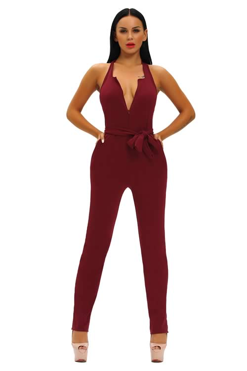 Halter Deep V Neck Zipped Front Jumpsuit in Red