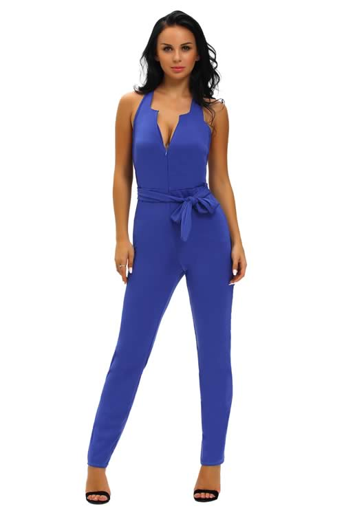 Halter Deep V Neck Zipped Front Jumpsuit in Blue