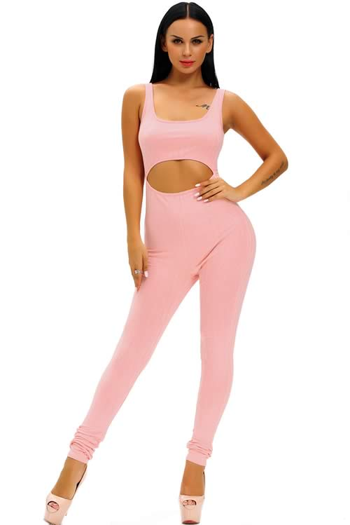 Sleeveless Ribbed Cut Out Tank Jumpsuit in Pink