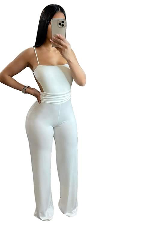 Deep V Neck Backless Thigh High Slit Party Jumpsuit in White