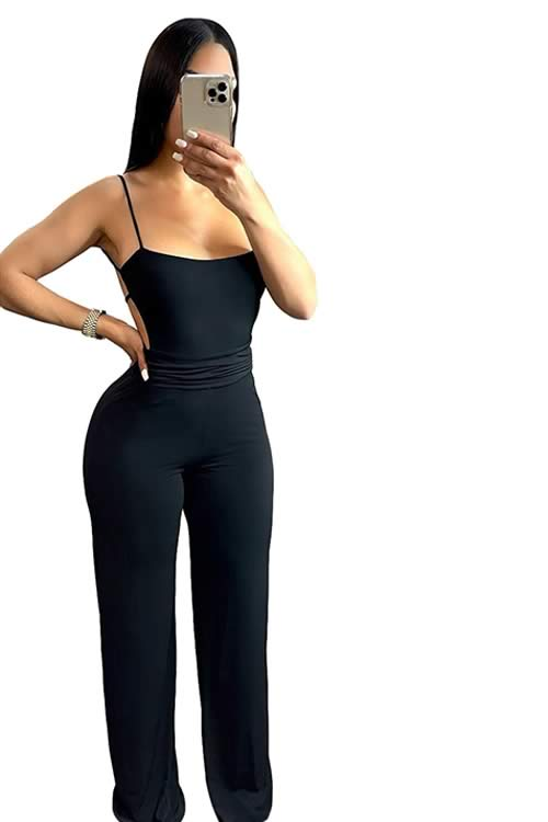Deep V Neck Backless Thigh High Slit Party Jumpsuit in Black