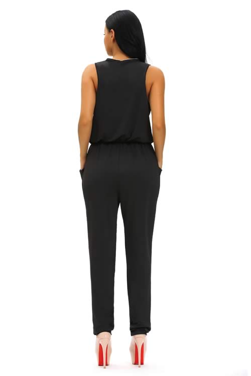 Sleeveless Zipper V Neck Tapered Leg Jumpsuit in Black