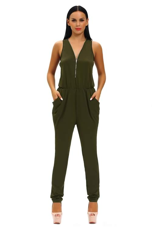 Sleeveless Zipper V Neck Tapered Leg Jumpsuit in Green