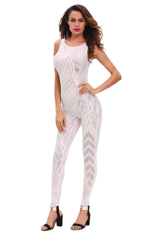 Sleeveless Sheer Mesh Net Jumpsuit in White