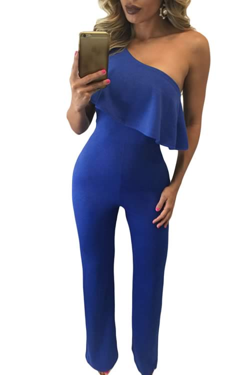 Strapless Sleeveless One Shoulder Ruffle Bodycon Jumpsuit in Blue