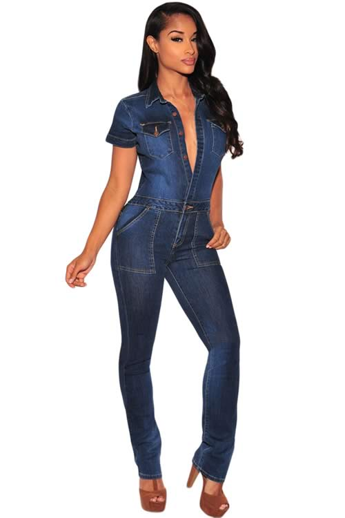 Short Sleeve Denim Button Down Jumpsuit in Dark