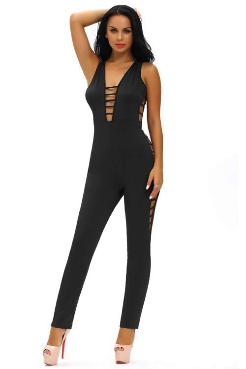 String Hollow Out V Back Club Jumpsuit in Black
