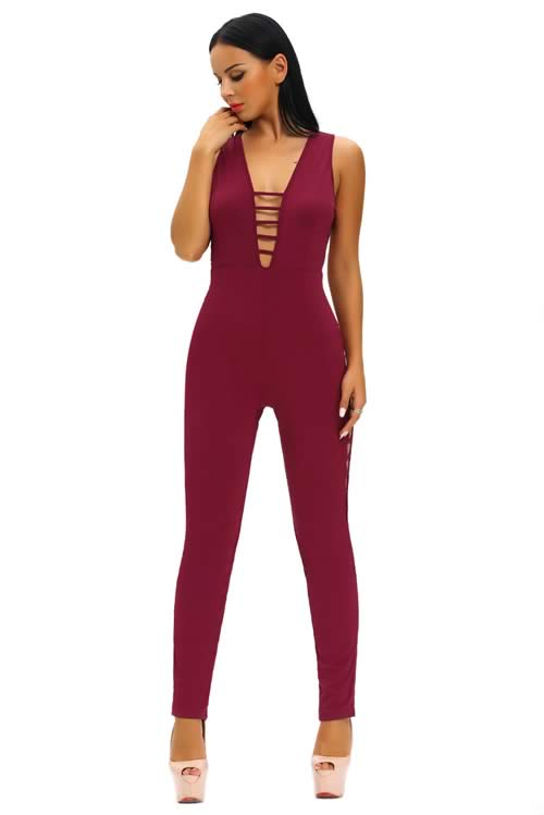 String Hollow Out V Back Club Jumpsuit in Red
