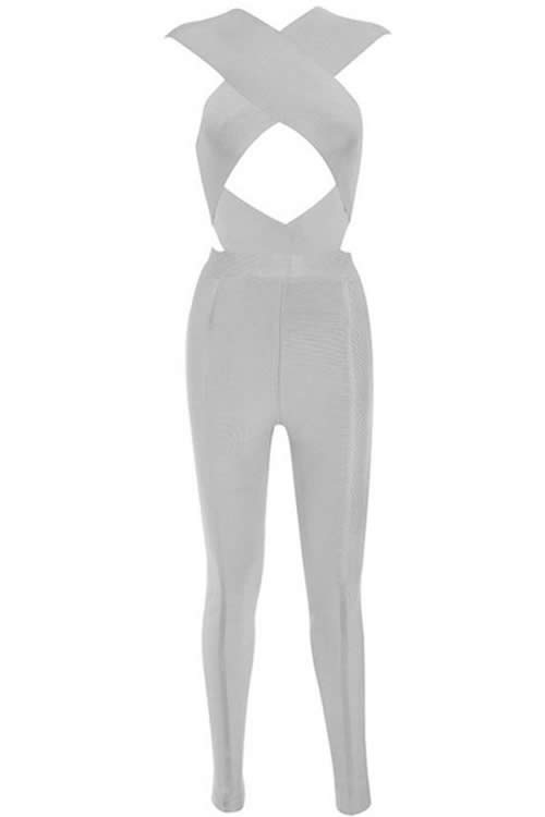 Sleeveless Cross Bust Bandage Jumpsuit in Grey