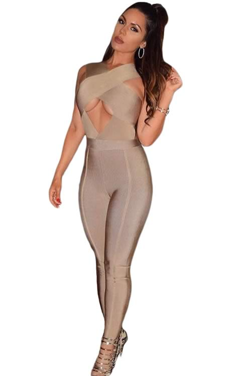 Sleeveless Cross Bust Bandage Jumpsuit in Khaki