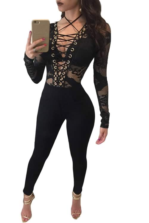 Floral Lace up Hollow out Long Sleeve Party Jumpsuit in Black