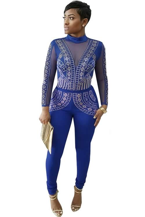 Long Sleeve Steampunk Studded Pattern Mesh Insert Jumpsuit in Blue