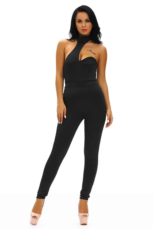 Sleeveless Backless Choker Open Back Jumpsuit in Black