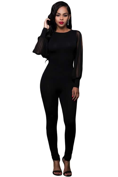 Sheer Split Long Sleeve Open Back Jumpsuit in Black