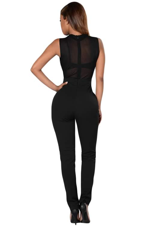Sleeveless Rhinestone Decorated High Neck Jumpsuit in Black