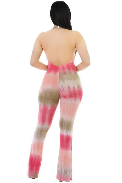 Blend Tie Dye Open Back Bell Bottom Jumpsuit in Red