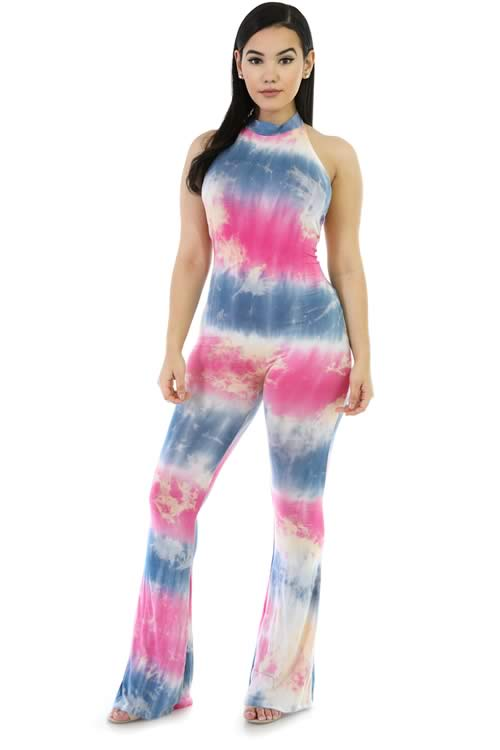 Blend Tie Dye Open Back Bell Bottom Jumpsuit in Rose
