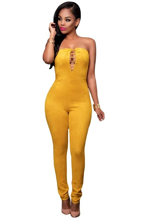 Deep V Lace up Faux Suede Strapless Jumpsuit in Yellow