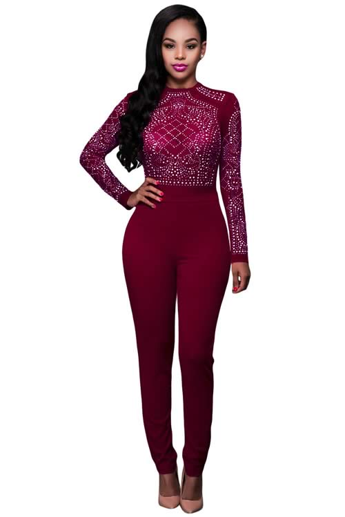 Long Sleeve Rhinestone Mesh High Waisted Jumpsuit in Red