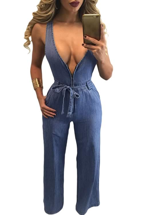 Plunge Deep V Neck Open Back Denim Jumpsuit in Blue