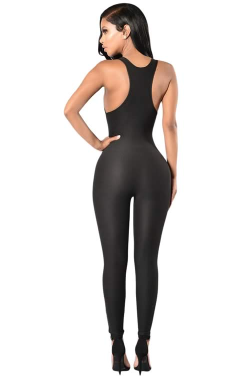 Sleeveless Ripped Tapered Leg Jumpsuit in Black