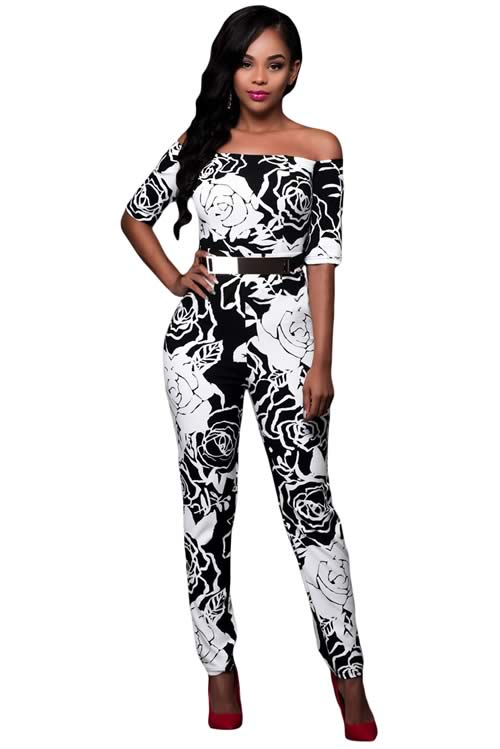 Off Shoulder Rose Printed Belted Jumpsuit in Black White
