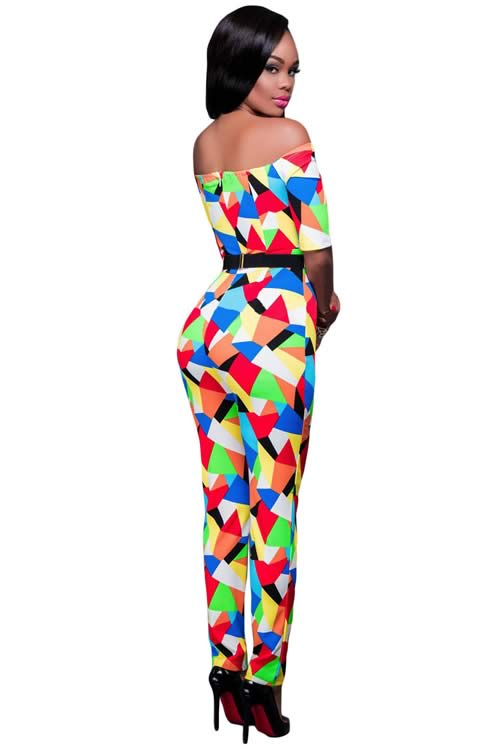 Multicolor Off Shoulder Geometric Printed Belted Jumpsuit