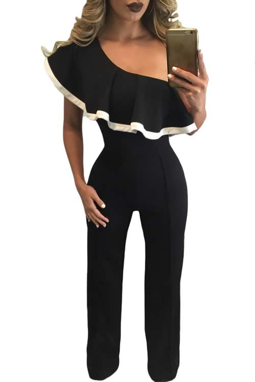 Ruffle Trim One Shoulder Wide Leg Jumpsuit in Black