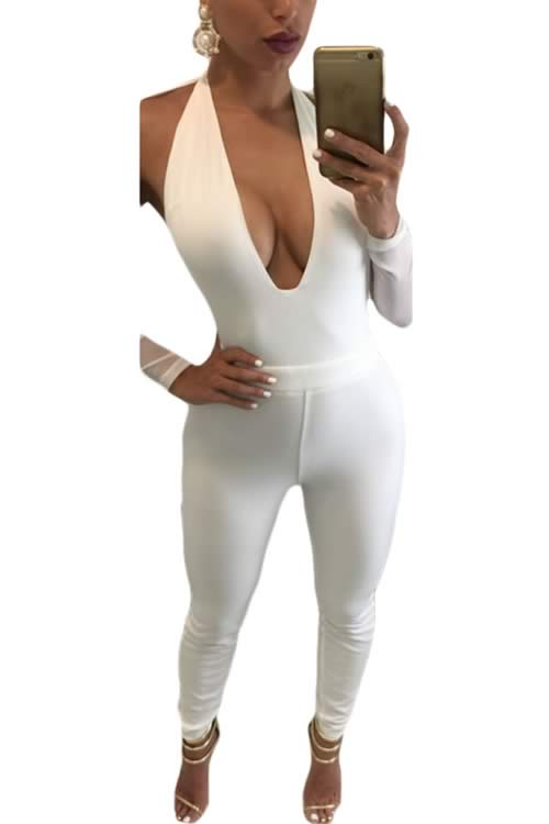 Backless Deep V Neck Mesh Long Sleeve Jumpsuit in White