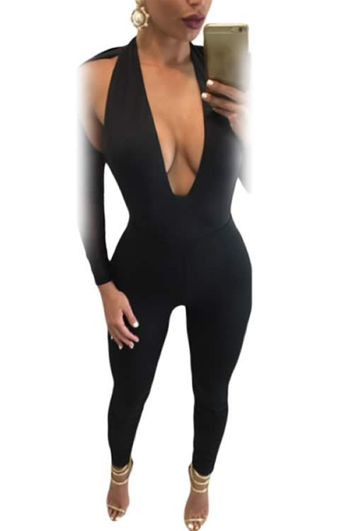 Backless Deep V Neck Mesh Long Sleeve Jumpsuit in Black