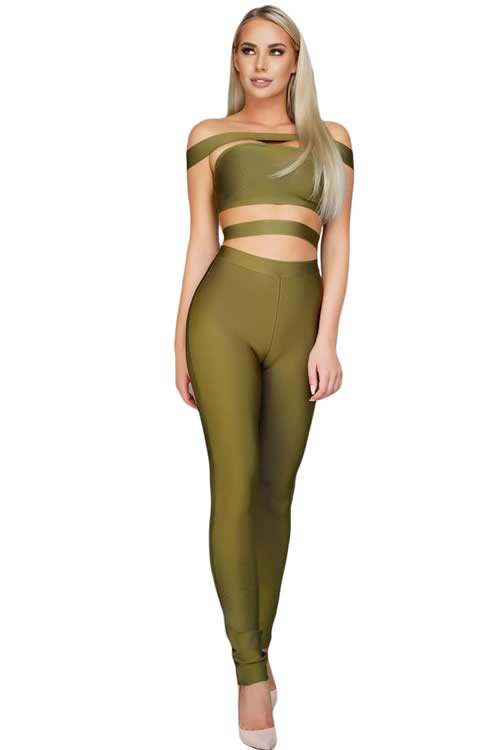 Sleeveless Off The Shoulder Hollow Out Bandage Jumpsuit in Green