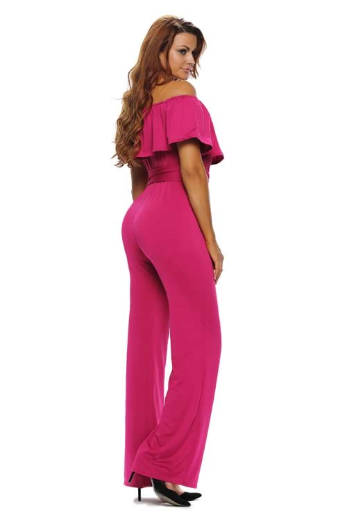 Ruffle Off Shoulder Belted Wide Leg Jumpsuit in Rose