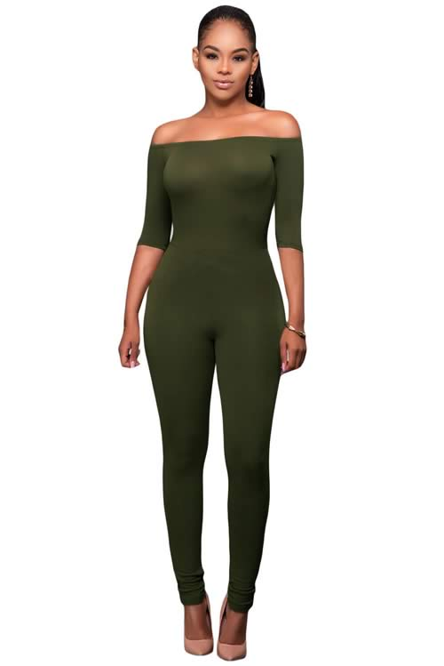Off Shoulder 3/4 Sleeve Tapered Leg Jumpsuit in Green