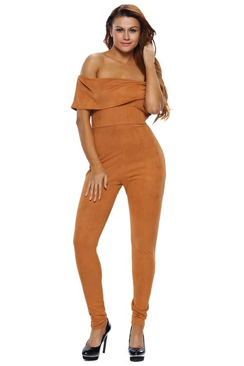 Faux Suede Off The Shoulder Jumpsuit in Brown