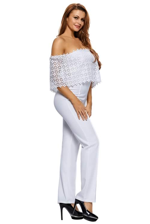 Lace Overlay Off Shoulder Wide Leg Jumpsuit in White