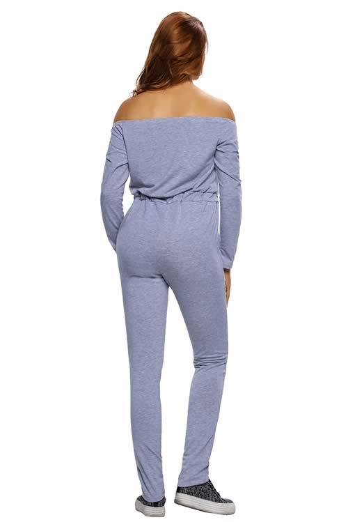 Knee Cutout Long Sleeve Off Shoulder Jumpsuit in Grey