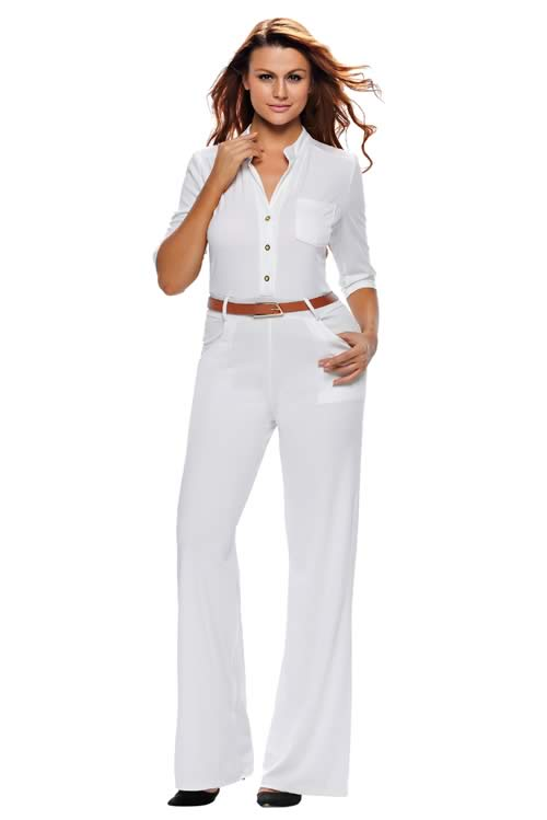 V Neck Half Sleeves Belted High Waisted Wide Leg Jumpsuit in White