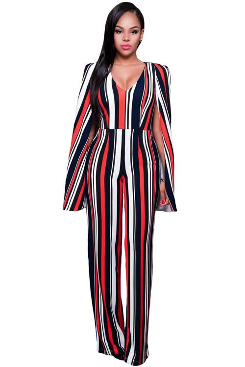 Striped Cape Sleeve V Neck Wide Leg Jumpsuit in Red Blue