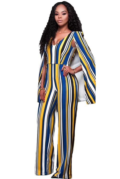 Striped Cape Sleeve V Neck Wide Leg Jumpsuit in Yellow Blue