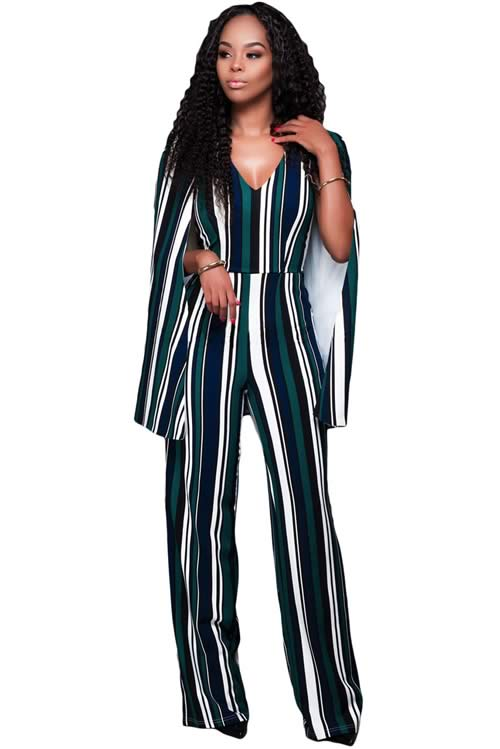 Striped Cape Sleeve V Neck Wide Leg Jumpsuit in Green Blue