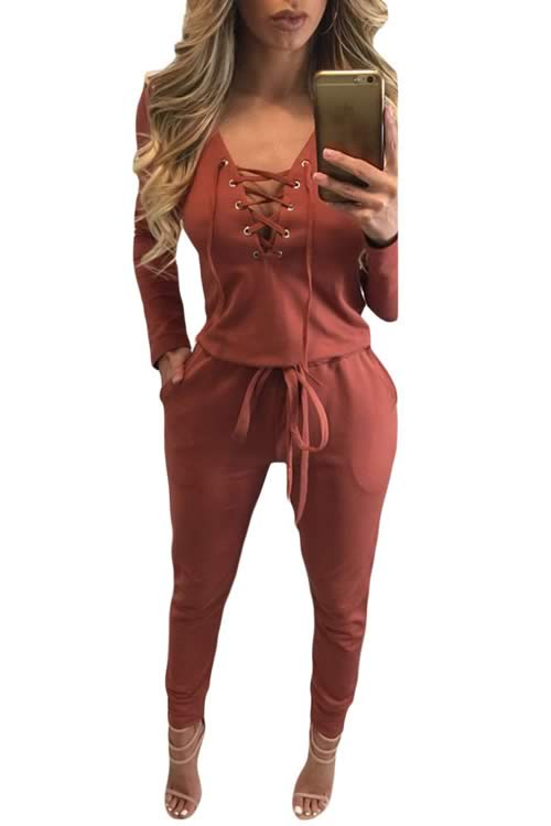 V Neck Grommet Lace Up Long Sleeve Jumpsuit in Orange