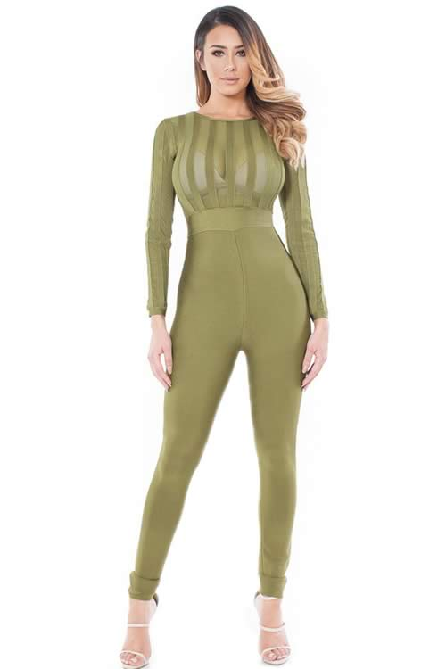 Long Sleeve Striped Sheer Top Bandage Jumpsuit in Green