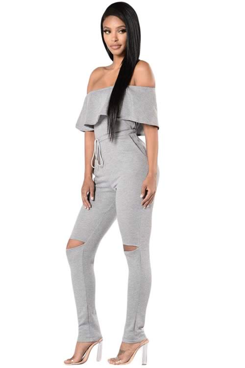 Ruffle Off Shoulder Knee Slit High Waisted Jumpsuit in Grey