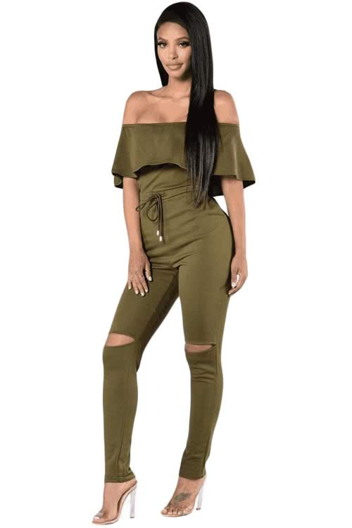 Ruffle Off Shoulder Knee Slit High Waisted Jumpsuit in Green