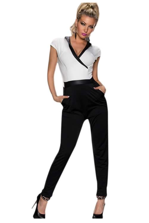 Short Sleeve V Neck Zipper back Jumpsuit in Black White