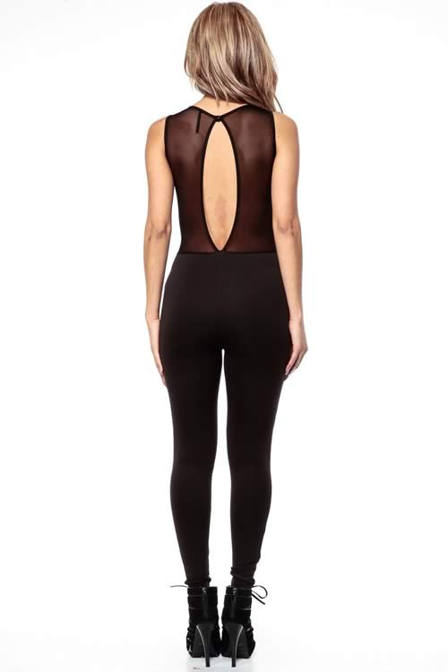 Sleeveless Mesh High Neck Keyhole back Jumpsuit in Black
